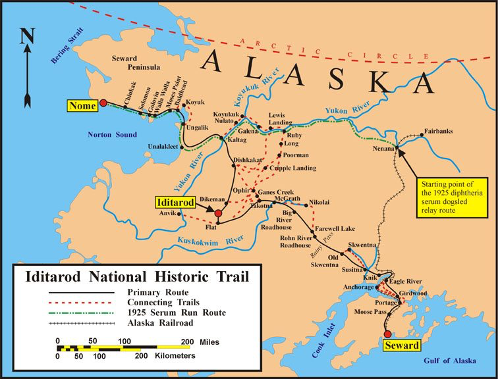 Iditarod map both routes