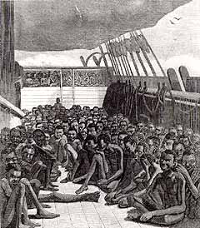 Slaves on deck of a slave ship
